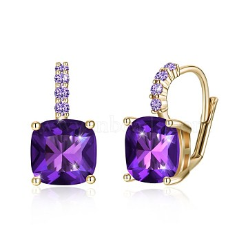 Trendy Brass Leverback Earrings, with Glass Rhinestone, Square, Purple, Champagne YellowGold, 17x11mm(EJEW-BB31939-B)
