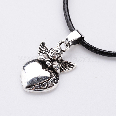 Antique Silver Alloy Heart Waxed Cord Pendant Necklaces(NJEW-J054-02)-2