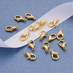 Agrafes de accessoires de bijoux en alliage de zinc d'or homard griffes, 12x6mm, Trou: 1.2mm(X-E102-G)