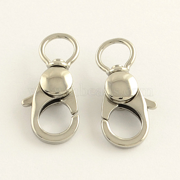 304 Stainless Steel Swivel Lobster Claw Clasps, Swivel Snap Hooks, Stainless Steel Color, 25x11x6mm, Hole: 6mm(STAS-R065-10)