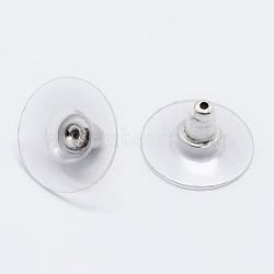 Écrou d'oreille en 925 argent sterling, sculpté 925, platine, 6.5x12mm, Trou: 0.8mm(STER-K167-038P)