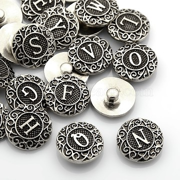 Antique Silver Tone Zinc Alloy Enamel Alphabet Snap Buttons, Flat Round, Lead Free & Nickel Free & Cadmium Free, Random Mixed Letters, 19x6mm; Knob: 5mm(SNAP-N010-86-NR)