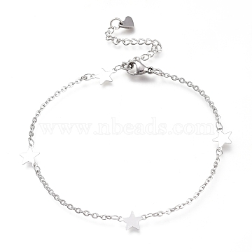304 Stainless Steel Cable Chain Anklets, with Star Links and Lobster Claw Clasps, Stainless Steel Color, 8-7/8 inches(22.5cm)(AJEW-M026-12P)