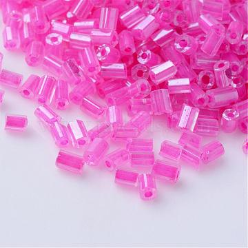 Transparent Two Cut Glass Seed Beads, Inside Color Lustered, Round Hole, Hexagon, HotPink, 2~6x2mm, Hole: 0.5mm; about 21000pcs/450g, 450g/bag(SEED-Q022-2203)
