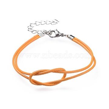 DarkOrange Waxed Polyester Cord Bracelets