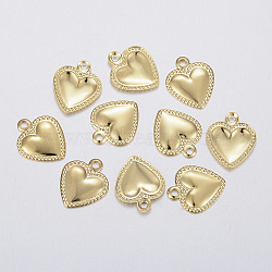 304 Stainless Steel Charms, Puffed Heart, Golden, 10x8x0.8mm, Hole: 1mm