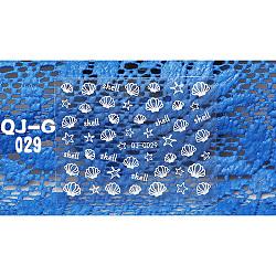 3D stickers autocollants d'art à ongle, coquille, blanc, 6.2x5.2cm; taille du paquet: 9.8x6.2cm.(MRMJ-Q013-29D)