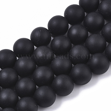 Natural Black Stone Bead Strands, Round, Black, 10mm, Hole: 1.2mm; about 38pcs/strand, 15.35 inches(G-R193-01-10mm)