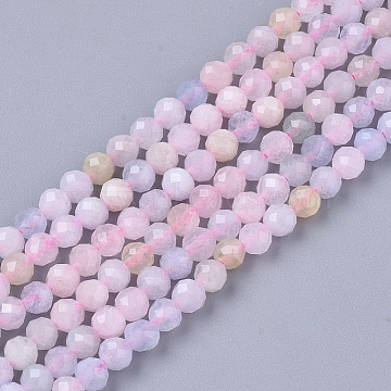 Natural Morganite Beads Strands, Faceted, Round, 3mm, Hole: 0.7mm, about 137pcs/strand, 15.55 inches(39.5cm)(G-S361-3mm-021)