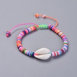 bracelets en argile de polymère faits main écologiques en pâte polymère, avec perles en nacre et cordon de nylon, coloré, 1-7 / 8 / 2-7 8 cm)(BJEW-JB04317-05)