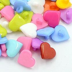 Boutons en acrylique, belle touche de coeur pour la conception de costumes, 1-trou, teint, couleur mixte, 12x12x2mm, Trou: 3mm(X-BUTT-E088-B-M)