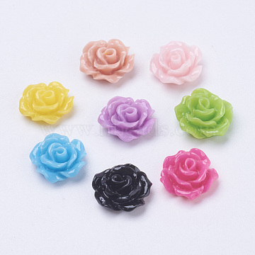 Mixed Opaque Resin Flower Cabochons, Size: about 10mm in diameter, 4mm thick(X-CRES-B342-M)