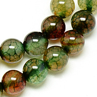 Natural Dragon Veins Agate Beads Strands, Dyed, Round, Olive, 8mm, Hole: 1mm, about 48pcs/strand, 14.96 inches