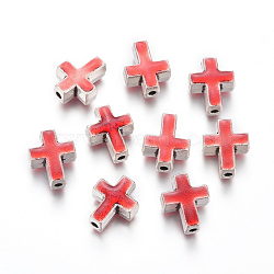 Antique Silver Plated Alloy Beads, with Enamel, Cross, Red, 14x12x6.5mm, Hole: 2mm(ENAM-L031-A02-AS)