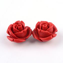 Perles de cinabre, rose, firebrick, 12.5x12.5x9.5mm, Trou: 1.5mm(CARL-Q004-74B)