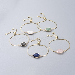 Brass Bolo Bracelets, Slider Bracelets, with Box Chains, Cubic Zirconia and Natural Gemstone Links, Teardrop, Golden, 9 inches(23cm)(BJEW-JB04688-M)