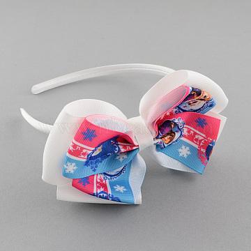Girls' Kawaii Bowknot Hair Bands, Plastic Hair Bands with Printed Grosgrain Ribbon, White, 110mm(OHAR-R214-01)