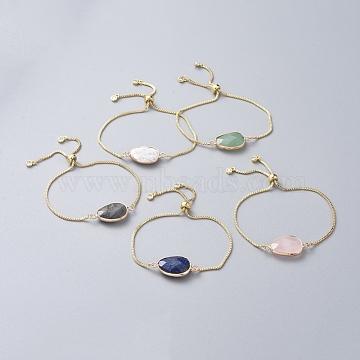 bracelets bolo en laiton, bracelets de slider, avec des chaînes de boîte, maillons en zircone cubique et pierres précieuses naturelles, larme, or, 9 (23 cm)(BJEW-JB04688-M)