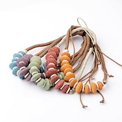 Natural Lava Bib Statement Necklaces, with Waxed Cord and Turquoise, Mixed Color, 18.1inches(NJEW-O092-02)