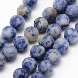 Natural Blue Spot Jasper Round Bead Strands, Frosted, Round, 6mm, Hole: 0.8mm; about 60pcs/strand, 14.1inches(G-D679-6mm)
