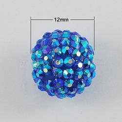 Коренастый дискотека проложить мяч смолы горный хрусталь бисер, многоцветные, круглые, синие, 12x10 мм, отверстие : 2 мм(X-RESI-S257-12mm-SB1)