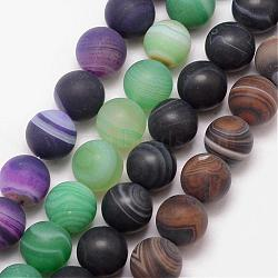 Natural Striped Agate/Banded Agate Bead Strands, Round, Grade A, Frosted, Dyed & Heated, Mixed Color, 8mm, Hole: 1mm; about 47pcs/strand, 15
