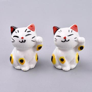 Kitten Home Decorations, Handmade Porcelain Decorations, Maneki Neko/Beckoning Cat, White, 37x24x24mm(HJEW-R119)