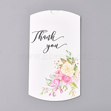 Paper Pillow Boxes, Gift Candy Packing Box, Flower Pattern & Word Thank You, White, Box: 12.5x7.6x1.9cm; Unfold: 14.5x7.9x0.1cm(X-CON-L020-02A)