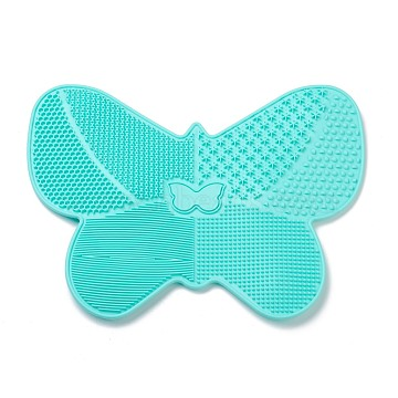 Silicone Makeup Cleaning Brush Scrubber Mat Portable Washing Tool, with Suction Cup, Butterfly Shape, for Men and Women by Dylonic, Cyan, 17.5x23x0.8cm(MRMJ-H002-02D)