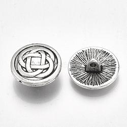 тибетский стиль кнопки сплава хвостовик, кадмия и свинца, плоский круглый с узлом, Старинное серебро, 17x7 mm, отверстия: 1.8 mm