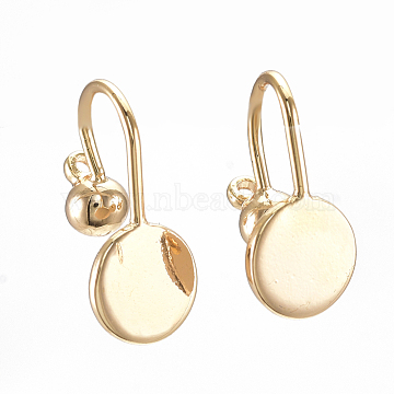Brass Screw Clip-on Earring Setting Findings, with Round Flat Pad, Nickel Free, Real 18K Gold Plated, 14x7mm, Hole: 1mm(X-KK-S350-074G)