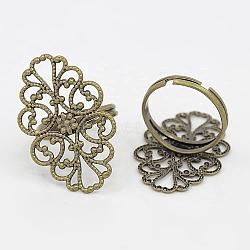 Composants d'anneau en laiton, composantes réglables anneau en filigrane, sans plomb, couleur de bronze antique, taille: anneau: environ 17 mm de diamètre intérieur, plateau: environ 20 mm de large, Longueur 32mm, épaisseur de 1mm(X-KK-H060-AB)
