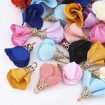 Light Gold Mixed Color Flower Cloth Pendants