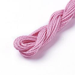 cordon de polyester ciré, pearlpink, 1 mm; sur 8.96~9 m / rouleau(YC-WH0005-22)