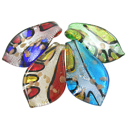 Handmade Silver Foil Glass Big Pendants, with Gold Sand, Leaf, Mixed Color, about 36mm wide, 63mm long, hole: 7mm(X-SLSP384J)