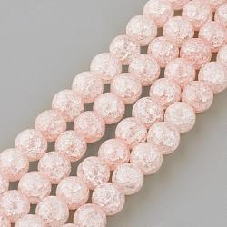 Chapelets de perles en quartz craquelé synthétique, rond, teint, rose, 8mm, trou: 1mm; environ 50 pcs/chapelet, 15.7''(GLAA-S134-8mm-01)