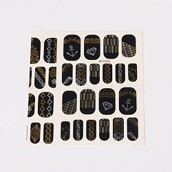 Autocollants en papier de tatouages temporaires de faux styles amovibles, métalliques ongles autocollants, or, 18~26x8~16 mm; environ 2 PCs / sac(AJEW-O025-07)