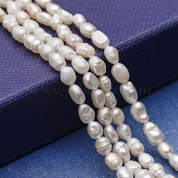 Natural Cultured Freshwater Pearl Beads Strands, Potato, White, 3~6.5x3~4mm, Hole: 0.5mm; about 69~76pcs/strand, 12.79~13.38 inches(32.5~34cm)(PEAR-P060-09)