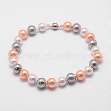 Glass Pearl Bracelets, with Nylon Cord and Magnetic Clasp, Colorful, 220x8mm(BJEW-K110-05)