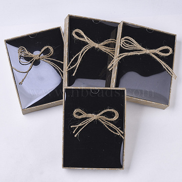 Cardboard Jewelry Boxes, for Ring, Necklace, Earring, with Transparent Lid, Hemp Rope Bowknot and Black Sponge Inside, Rectangle, Wheat, 16.8x13x31cm(CBOX-N012-04C)