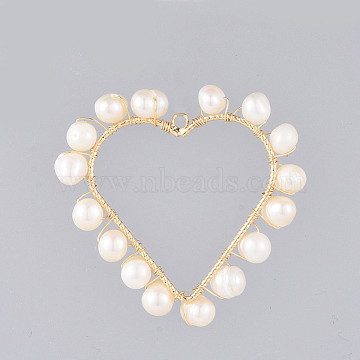 Natural Cultured Freshwater Pearl Pendants, Wire Wrapped Pendants, with Alloy Findings, Heart, Golden, 38x39x5~6mm, Hole: 1.8mm(PALLOY-JF00400)