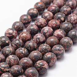 """Chapelets de perles de jaspe en peau de léopard naturel, rond, 12mm, trou: 1.2 mm; 33 perle / Chapelet, 15.7""""(G-N0181-01-12mm)"""