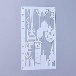 Modèles de pochoirs de peinture de dessin en plastique, thème de la fête, blanc, 17.4x9.6x0.02mm(DIY-WH0143-18I)