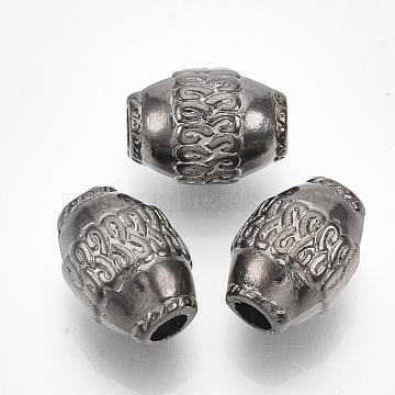 CCB Plastic European Beads, Large Hole Beads, Barrel, Gunmetal, 16x11.5mm, Hole: 4mm; about 440pcs/500g(CCB-T008-11B)