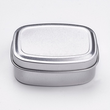 Aluminium Tin Cans, Empty Box Storage Containers, with Slip-on Lid, Rectangle, Platinum, 6.5x5x2.4cm; Capacity: 60ml(2.02 fl. oz)(CON-WH0027-02A)