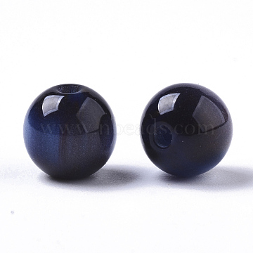 Resin Beads, Imitation Gemstone, Round, MidnightBlue, 8mm, Hole: 1.6mm(X-RESI-S387-015A-03)