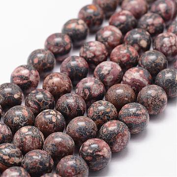 Natural Leopard Skin Jasper Beads Strands, Round, 12mm, Hole: 1.2mm; 33pcs/strand, 15.7 inches(G-N0181-01-12mm)