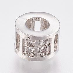 perles en laiton écologiques de zircone cubique perles européennes, grandes perles de trou, sans plomb et sans cadmium, colonne, platine, 8.5x5.5 mm, trou: 4 mm(ZIRC-F083-098P-RS)