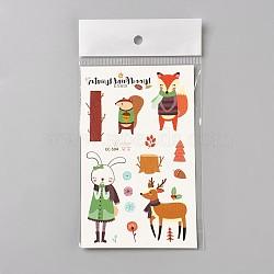 Faux tatouages temporaires amovibles, imperméable, autocollants papier de dessin animé, animaux, colorées, 120~121.5x75mm(AJEW-WH0061-B17)