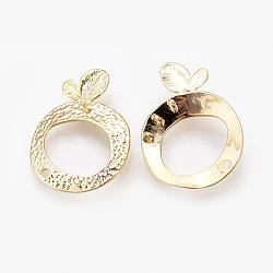chevilles en laiton, pour les résultats de perles semi-percées, Liens de composants de lustre, véritable plaqué or, 27x20x2 mm, trou: 1~1.5 mm; broches: 0.8 mm(KK-R058-102G)